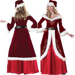 Argentina Hot Women Sexy Cosplay Disfraces de Navidad Festival Fiesta Vestido Uniforme de Papá Noel para las mujeres Sexy vestido largo Suministro