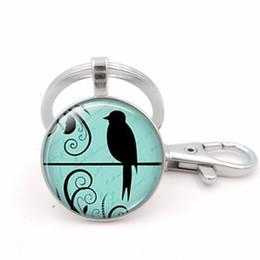 Porte-clés oiseau en métal en Ligne-New Victorian Birds Ombre Image Porte-clés Argent Métal De Mode Porte-clés Porte-clés De Voiture Pendentif Cadeau 2018