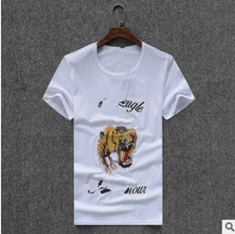 Wholesale Tiger Print Long Shirts Design - Fashion Design Brand Men's Casual Cotton Tiger embroidery short sleeve T Shirts Slim with tags M-2XL Summer bursting short sleeved male