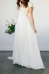 Wholesale Plus Size Wedding Reception Dresses - 2018 Flowy A line Chiffon Modest Wedding Dresses Beach Short Sleeves Beaded Belt Temple Bridal Gown Queen Anne Neck Informal Reception Dress