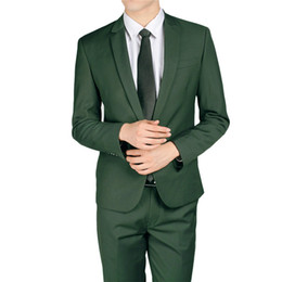 Wholesale Silver Color Suits For Men - YFFUSHI Men Suit 2 Pieces Grey Green Sliver Tuxedo Terno Masculino Business Casual Style Wedding Suits for Men