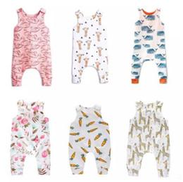 2019 giraffenknöpfe Baby Print Strampler Taste 30 Design Jungen Mädchen Einhorn Waschbär Sushi Schwan Karotten Ballon Giraffe Feder Fox Wassermelone Infant Overall B11 günstig giraffenknöpfe