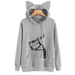 Wholesale Hoodies Cat Ears - Women Sweatshirts Cute Cat Print Cat Ear Kawaii Hoodies Casual Long Sleeve Pullovers Lovers Hoodies With Pocket Dropship