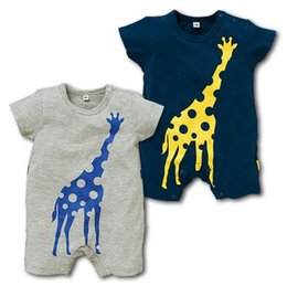 Wholesale Infant Giraffe - NEW 2 Design infant Kids Giraffe Print Cotton Cool short sleeve Romper baby Climb clothing boy Romper free ship A08