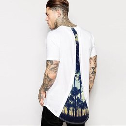 Wholesale rock t shirts xxl - 2018men's extended T-Shirt longline hip hop tee shirts shortsleeve cool graphic in tshirt back rock tops tees swag t shirts for men M-XXL