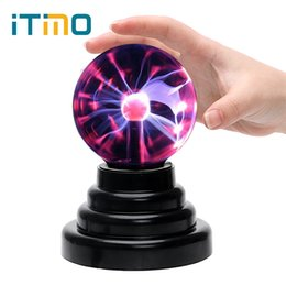 Wholesale Plasma Black - Wholesale-ITimo Crystal Electrostatic induction Sphere Light Creative Magic Plasma Ball Black Base USB Plasma Light Novelty Lighting