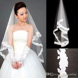Wholesale Bride Veils - 2018 Hot Sale Cheap Short Wedding Veil White Applique Elbow Length Bride Veil Free Shipping CPA299