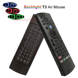 Support de la télécommande usb pc en Ligne-2.4G Air Mouse Mini Claviers Sans Fil pour TV Box PC IPTV Universel Rétro-Éclairé Télécommande Support IR Apprendre T3 Couleurs Contrôleur de Rétro-Éclairage