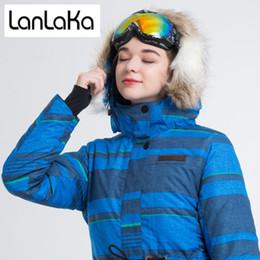 LANLAKA NUEVA Marca Chaqueta de Esquí Mujeres Invierno Chaqueta Impermeable chaquetas de Snowboard de Alta Calidad Caliente Alargar Azul Esquí Capa femenina desde fabricantes