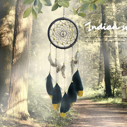 Wholesale feather arts - Handmade Gold Powder Dreamcatcher Indian Style Feather Dream Catcher Pendant Wall Hanging Car Decoration 11 1xr C