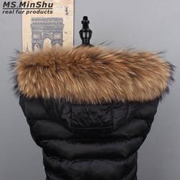 2019 casacos de pele Ms.MinShu Raccoon Fur Collar Natural guarnição da pele Hoodie Custom Made Collar guarnição para revestimento de Down capa Natural casacos de pele barato