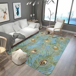 piuma di pavone giallo Sconti Tappeto di piume di pavone tappeto tappeto camera da letto soggiorno in corallo morbido tappeto di lusso bagno cucina tavolo antiscivolo stuoie tapway tapway