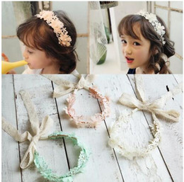 Wholesale girls ivory headband - Nicoevaropa 2018 New Girls Halo Hairband Kids Pink Ivory Mint Floral Lace Ribbon Headband Cute Fashion Children Accessories B11
