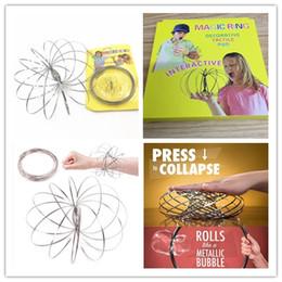 2019 spielkartenadapter Toroflux Flow Ringe 13cm Edelstahl Kinetic Spring Metall SUS 304 Toroflux Magic Flow Ring 3D Skulptur Ring interaktive Spielzeug für Kinder