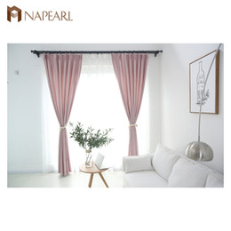 Wholesale custom installations - NAPEARL 1pcs Shaoxing supplier modern style striped drapes pull pleated tape custom pink blackout curtain for living room window treatment
