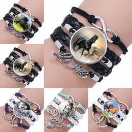 Wholesale gift horse movie - Fashion horse Glass Cabochon Infinity Love Leather Bracelet For Girls Women Movie time gemstone handmade woven Jewelry Gift drop ship 320046