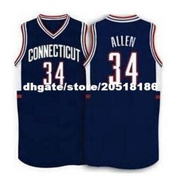 Wholesale numbers vests - Cheap #34 Ray Allen Connecticut Huskies1996 vest T-shirt blue White Basketball Jersey Stitched Jerseys Customized Any Name And Number