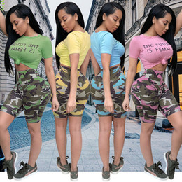 Wholesale Women Pink Camo Pants - 2018 Summer Two-piece set popular T-shirt tops + shorts suit Camo Print Shorts Set Women sexy Package hip Straight pants Casual tees