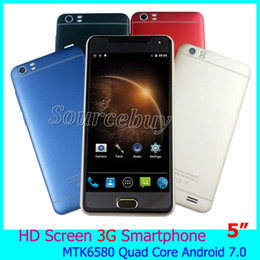Wholesale Mobile Phone Swedish - HD Screen 5 inch Unlocked Smart Phone Mate6+ MTK6580 Quad Core 512MB 4GB Android 7.0 Mobile Phones Dual SIM 2MP Smart Wake