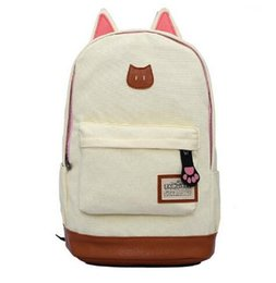 Wholesale Light Blue Satchel - Canvas Backpack For Women Girls Satchel School Bags Cute Rucksack School Backpack children Cat Ear Cartoon Women Bags Beige