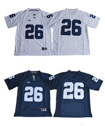 Jerseys de fútbol cosido online-26 Saquon Barkley Jersey 2017 Penn State Nittany Lions Jersey Sin nombre Azul marino Blanco Blanco Fútbol Jerseys cosidos S-XXXL Mixto Orden