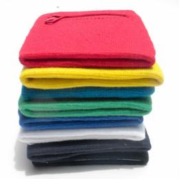 Suor de algodão on-line-Protetor de Pulso Algodão Sweatband Apoio Wraps Sport Strap Protect Pulseira Zipper Bolso Braço Ao Ar Livre Banda Venda Quente 2xj V