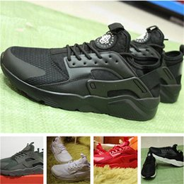 Wholesale Gold Shoes For Women - Newest 2018 new Huarache IV Running Shoes For Men Women, Black White High Quality Sneakers Triple Huaraches Jogging Sports Shoes Eur 5.5-11