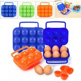 Wholesale bbq tool storage - 12 6 Plastic Egg Holder Carrier Folding Egg Storage Tray Box Outdoor Camping BBQ Egg Tools AAA227