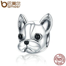 Wholesale fit french - 925 Sterling Silver Loyal Partners French BULLDOG Doggy Animal Beads fit Women Charm Bracelets Puppy Jewelry