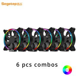 2019 ordinateurs liquides 6pcs complet pour boîtier PC refroidisseur Segotep RGB 120mm ventilateur de refroidissement d'ordinateur LED allume haut débit à faible bruit pour Gamer Desktop Liquid promotion ordinateurs liquides