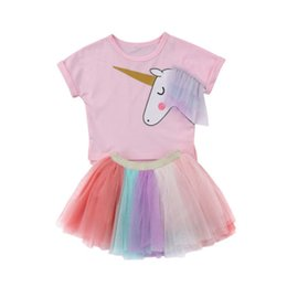 Довольно короткие юбки онлайн-Prey Kids Baby Girl Summer Clothes Suit Cartoon Horse Print Short Sleeve T-shirt Top Short Colorful Tutu Skirt 2Pcs Outfit Set