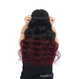 extensions de cheveux bordeaux de 12 pouces Promotion Noir + Bourgogne Deux Tons Ombre 1B / 99J Corps Vague 3 Bundles Extensions de Cheveux 8A Brésilienne de Cheveux Humains Vierge Tisse Trames 100g / pcs