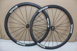 Wholesale 38mm carbon clincher wheels - Full Carbon Bike Wheels 700C 23mm Width 38mm Depth Clincher Tubular 3K Matt With Red Novatec 271 372 Hubs And Nipples Black Spokes