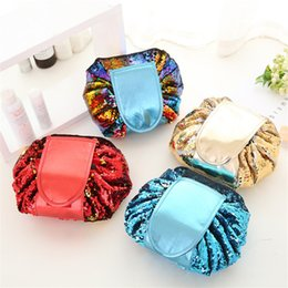 Wholesale Sequin Fold - VELY vely Sequin Lazy Cosmetic Bag multifunction portable Drawstring Makeup Bags Bling travel pouch Fold Storage make up string bags