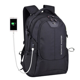 "Wholesale 17 Laptop Backpack - 2017 New brand Swiss Waterproof men backpack anti-theft External USB charge port for 15"" 17"" laptop backpack school bags mochila"