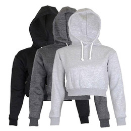 Wholesale Womens Long Sleeve Crop Tops - 2018 Autumn Womens Solid Crop Hoodie Long Sleeve Jumper Hooded Pullover Coat Casual Sweatshirt Top Sudaderas Mujer