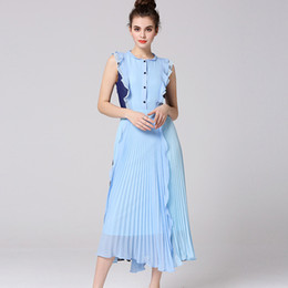 Wholesale Peter Pan Neck Dresses - New Arrival 2018 Women's Peter Pan Collar Sleeveless Ruffles Pleated Patchwork Fashion Designer Casual Dresses