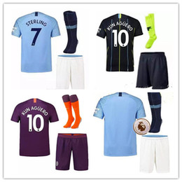 ac0fc8dff Manchester City soccer Jerseys 2018 2019 MAN City adult kit KUN AGUERO  KOMPANY DE BRUYNE Home away Shirt full kit with socks