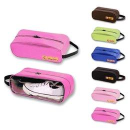 Wholesale travel shoe organizer bag - 6colors Portable Travel Shoes Bag Zip View Window Pouch Storage Bags Luggage Suitcate Organizer Transparent Shoe Case FFA643 100PCS