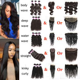 Wholesale Brazilian Water Wave Hair - Brazilian Virgin Hair Body Wave Straight Water Deep Natural Wave Kinky Curly With Lace Closure 13x4 Lace Frontal Human Hair Extensions Weft