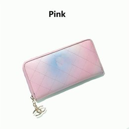 Wholesale long chain handbags - New France luxury designer wallets For Women Rainbow Colorful Fashion Luxury Handbags Purses Ladies Long Clutch Holders