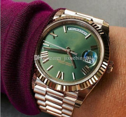 Wholesale yellow face mens watch - 2017 Luxury watch Green face rose gold Stainless steel original strap wristwatch Day date Automatic movement AAA mens dezel Mechanics Watch