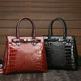 Damen große schwarze umhängetaschen online-Handbag Big Women's Crocodile Pattern Bag Ladies Alligator Leather Fashion Shoulder Women 2019 Black Brown Large Capacity