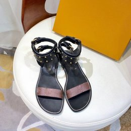 Wholesale Ladies Quality Shoes - Free shipping 2018 New design hot sell luxury brand original quality handmade leather women lady flat sandals size 35-42.