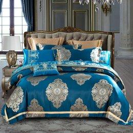 Biancheria da letto matrimoniale di lusso di colore blu Set copriletto matrimoniale Lenzuolo Federa Copripiumino in raso e cotone cheap blue satin duvet covers da copripiumino blu satinato fornitori