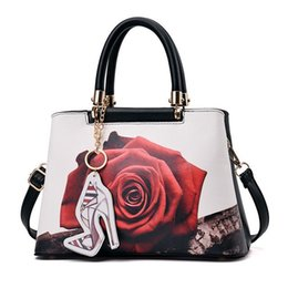 Wholesale Check Cell Phone - New Fashion Printing Floral Women Handbag Luxury Leather Bags Women Designer Handbags High Quality Shoulder Bags bolsas WYQ707