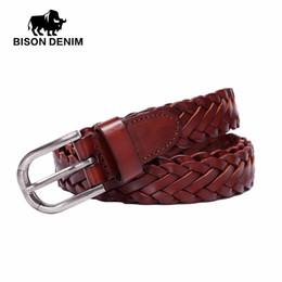3cba677bc066 BISON DENIM 2017 Fashion Female Vintage Strap Alloy Pin Buckle Jeans Designer  Leather Belt Woven Rope Belt For Women N60209