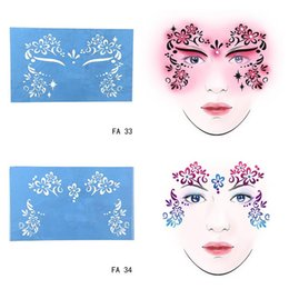 Wholesale Christmas Face Painting - Wholesale-New Soft Reusable Face Paint Stencil Tattoo Template Flower Face Body Paint Design Painting Tool For Halloween Christmas Party