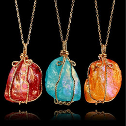Wholesale Long Chained Gemstone Necklace - stone Pendants Necklace for women 2018 Creative natural crystal Gemstone color geometric long chain Necklace original irregularity Jewelry