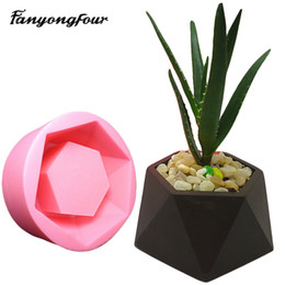 Wholesale Free Candles - 3D Geometric Flowerpot Cement mold Silicone Mold Chocolate Gypsum Candle Soap Candy Mold Kitchen Baking Free Shipping